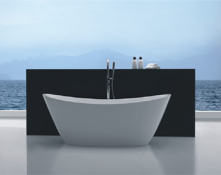 Clearstile_White_modern_bath_tub_with_black_basin_counter_backdrop_Kildare_Dublin