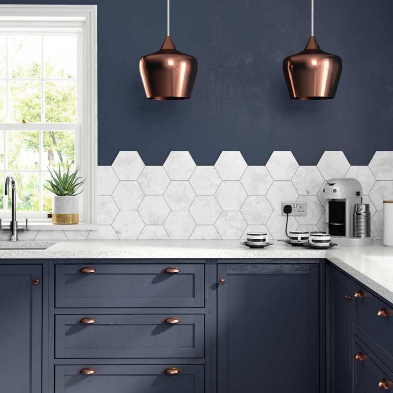 Hexagonal tiles, carrera hexagonal, splashback tiles